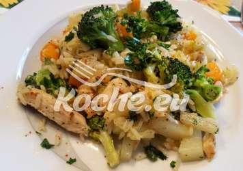 Gemüse Reispfanne mit Hähnchengeschnetzeltes