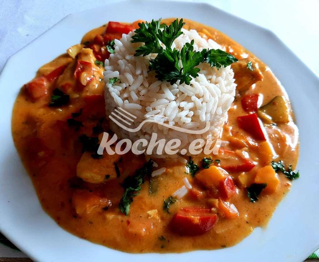 Hähnchen Gemüse Curry mit Reis