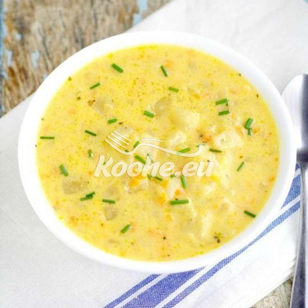 Kartoffelsuppe mit Cheddar, Schmand und Kurkuma